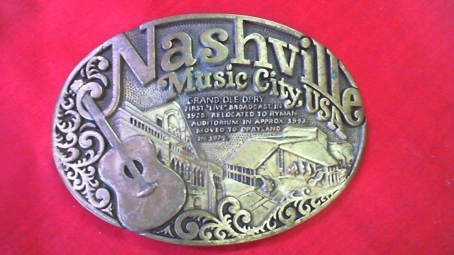 Solid Brass Belt Buckle Nashville Music City, USA by Award Design Medals Inc TU1 #AwardDesignMedalsInc #Casual
