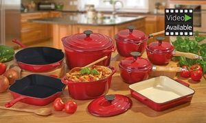 Groupon - Cooks Professional 5 or 8-Piece Deluxe Cast Iron Pan Set from £79.99 With Free Delivery (Up to 76% Off). Groupon deal price: £79.99