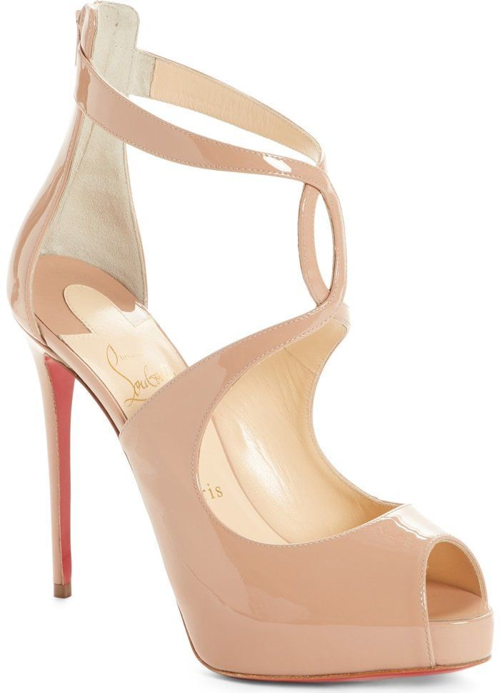 fb4cfc856d5 Nude Patent Christian Louboutin Rosie Peep Toe Pumps With Curvy Criss-Cross  Straps   Keyhole Detail