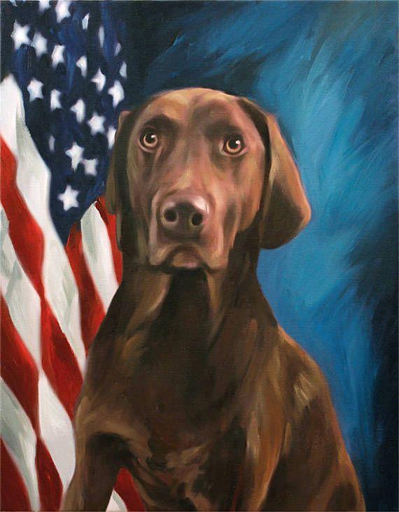 Patriotic Portrait with US Flag Background Custom Pet