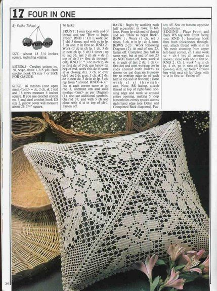 Beautiful Cushion Cover in Filet Crochet and  a bonus with the pattern here in English!!!!