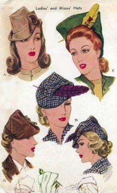 1940s Hats History - 20 Popular Women's Hat Styles ~