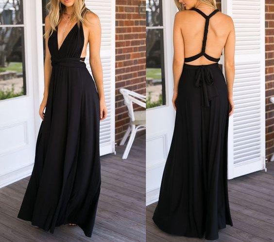 2016 Custom Charming Black Long Prom Dress,Sexy