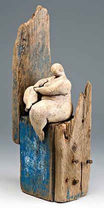 love this wood detail...old barn wood rusty nails primitive  FLESHPOTS - mudflail ceramics