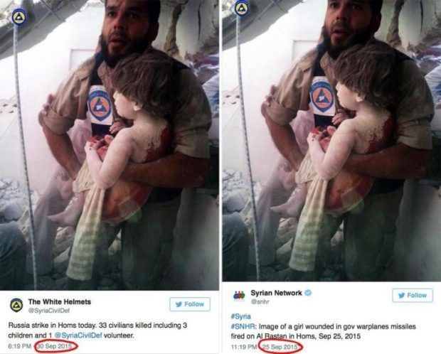 """How about the """"fact checkers"""" and apologists look into why the White Helmets recycled an image claiming to show a victim of """"Russian airstrikes"""" after having previously used the same image before Russia even began bombing ISIS in Syria."""