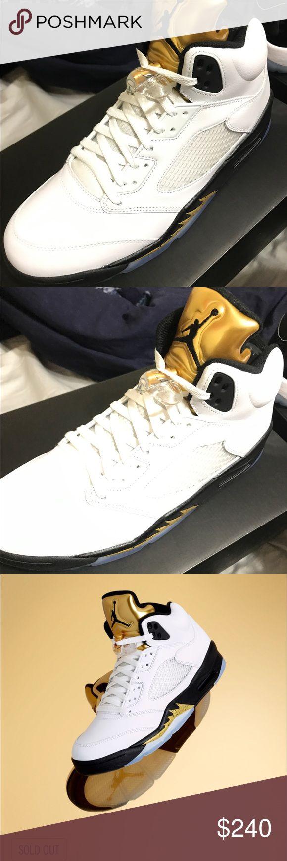 Jordan retro 5 metallic gold Brand new never tried on original all Jordan Shoes Athletic Shoes