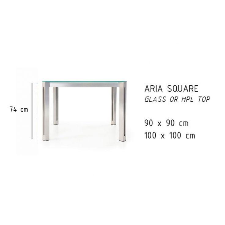 Todus Aria Esstisch quadratisch 100 cm, HPL oder Glasplatte
