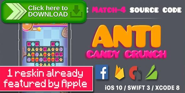 [ThemeForest]Free nulled download Anti Candy Crunch – the MATCH-4 Source Code - iOS 10 and Swift 3 ready from http://zippyfile.download/f.php?id=38363 Tags: ecommerce, ads, Candy Crush Saga, coins, flat style, flip, game center, in app purchases, ios10, ipad pro, iphone, native, reskin, sprite kit, swift 3, virtual currency