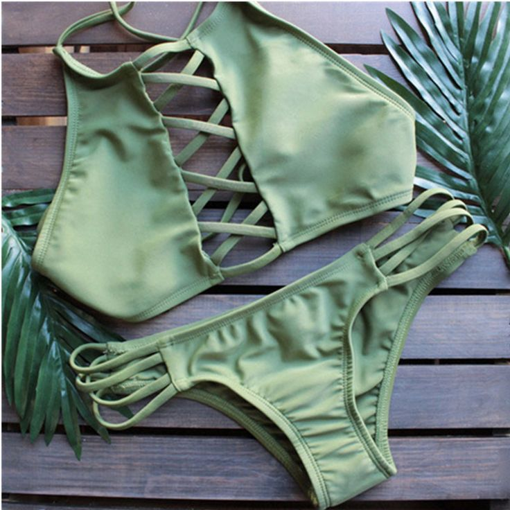 Show off your beach body this summer in this lace up wonderful two piece swimsuit.It features front lace up and strappy detailing.Enjoy your pool party or beach trip. Find your chic style at Romoti.com