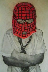 Hidden; chalk and charcoal drawing, schoolboy hidden behind spiderman mask