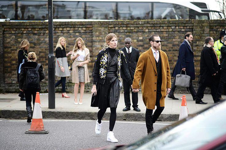 street style london  Justin O'Shea y Veronika Heilbrunner