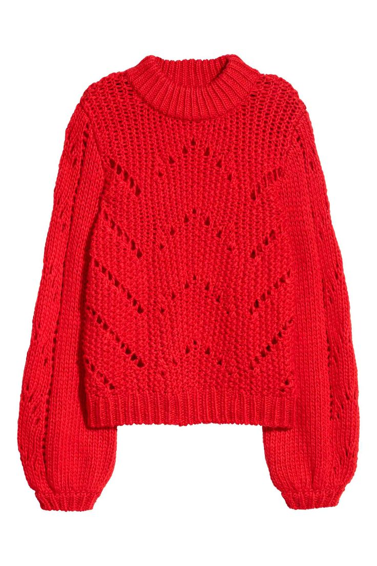 Jumper in a soft, chunky knit containing some wool with a hole-knitted pattern on the front and sleeves, long balloon sleeves and ribbing around the necklin