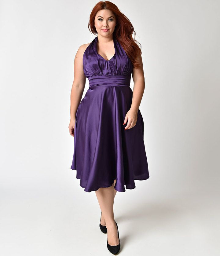 #UniqueVintage #PlusSize 1950s Style Purple #Satindress Halter Hyannis Swing #Dress #newyeareveoutfits