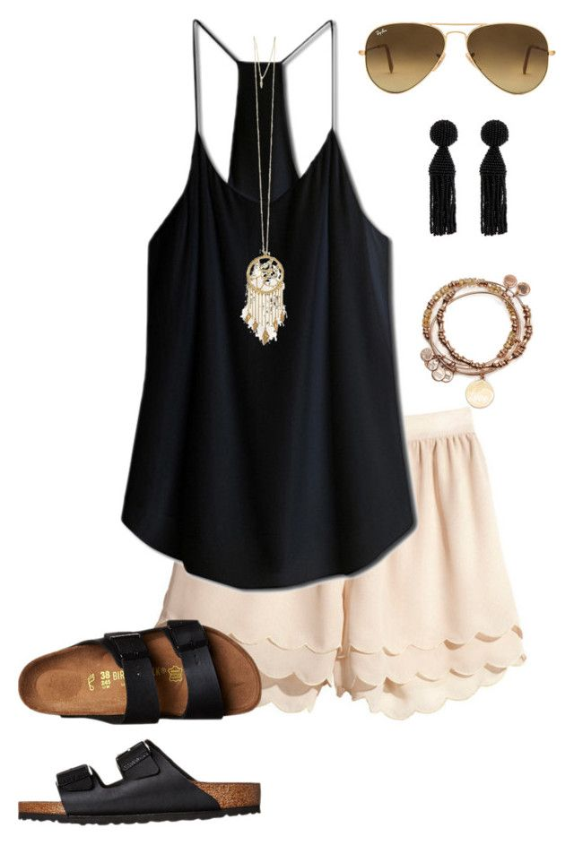"""""""Scallops"""" by margarethanff ❤ liked on Polyvore featuring Birkenstock, Belle Noel by Kim Kardashian, Alex and Ani, Oscar de la Renta and Ray-Ban"""