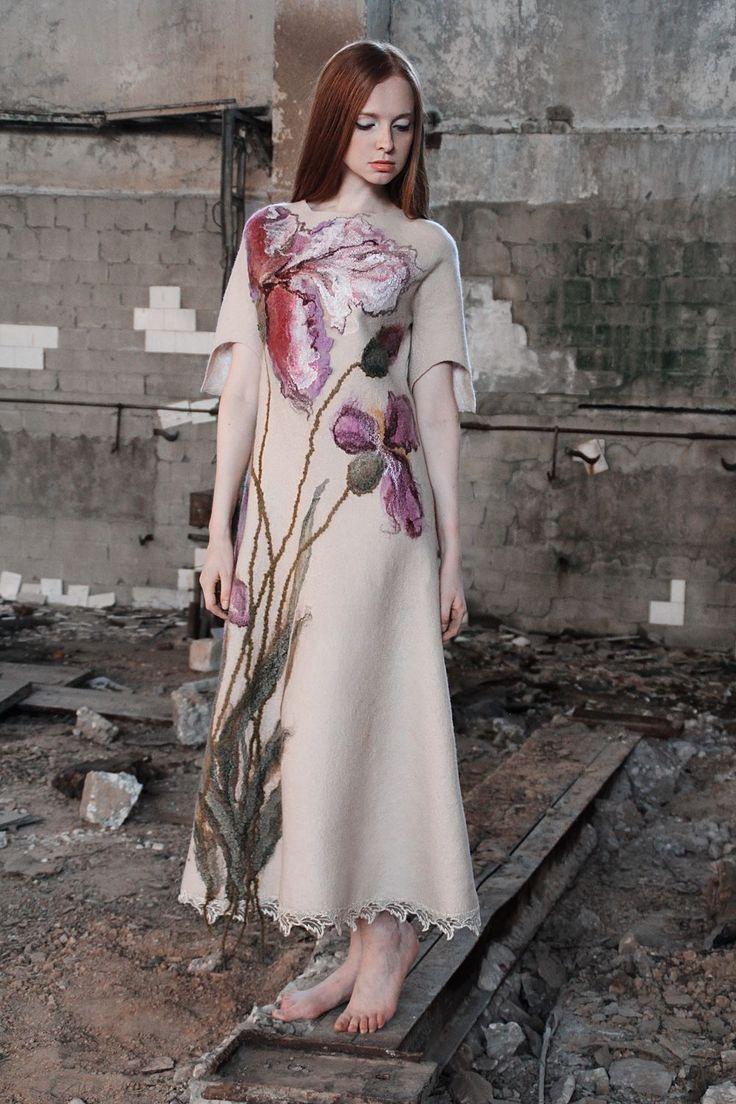 Купить Ирисы - фелтинг, платье, валяное платье, повседневное платье, Коктейльное платье, дизайнерское платье