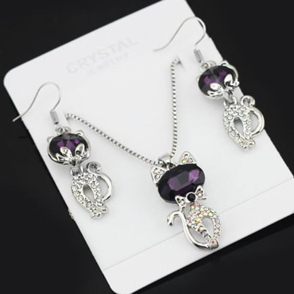 Austria Crystal Naughty Cat Platinum Rhinestone Necklace Earrings Jewelry Set