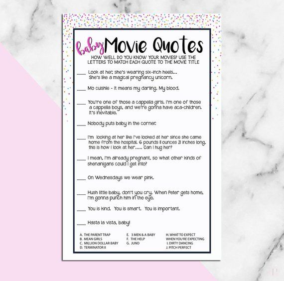 Baby Shower Game Name That Movie Quote Baby Parenting Etsy Name That Movie Baby Movie Baby Shower Games