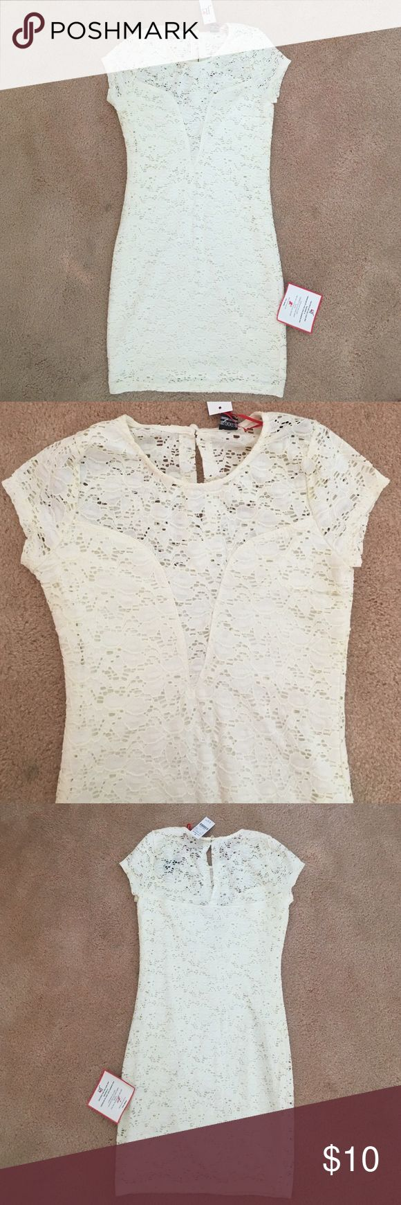 Off White Lace Bodycon Dress Off White Lace dress with an open Lace V-Cut. Form-fitting bodycon dress with a great, comfortable stretch to it. Size Large. New With Tags Dresses Mini