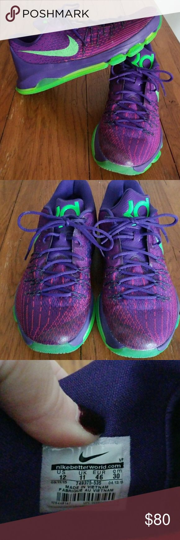 Nike KD 8 Basketball Shoes Purple/lime Green color, Men's  size 12, EUC, only used a few times on the basketball court Nike Shoes Athletic Shoes