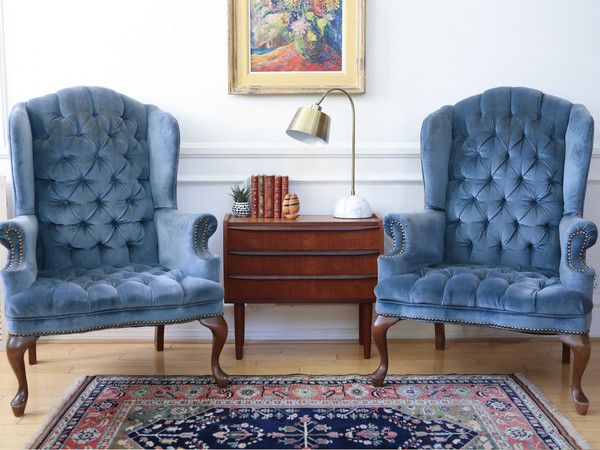 Hollywood Regency Vintage Tufted Velvet Wingback Arm Chair Navy blue Nailhead Traditional Brass Set of Two #75