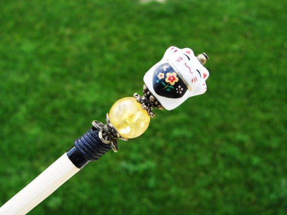 Long wooden japanese hair stick and maneki neko fortune lucky cat ceramic bead with yellow pebble crystal - kanzashi, hairpin, pin chopstick