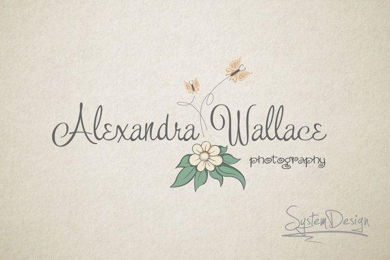 Photography logo design -  Watermark, Butterfly logo, Flower logo - Premade logos