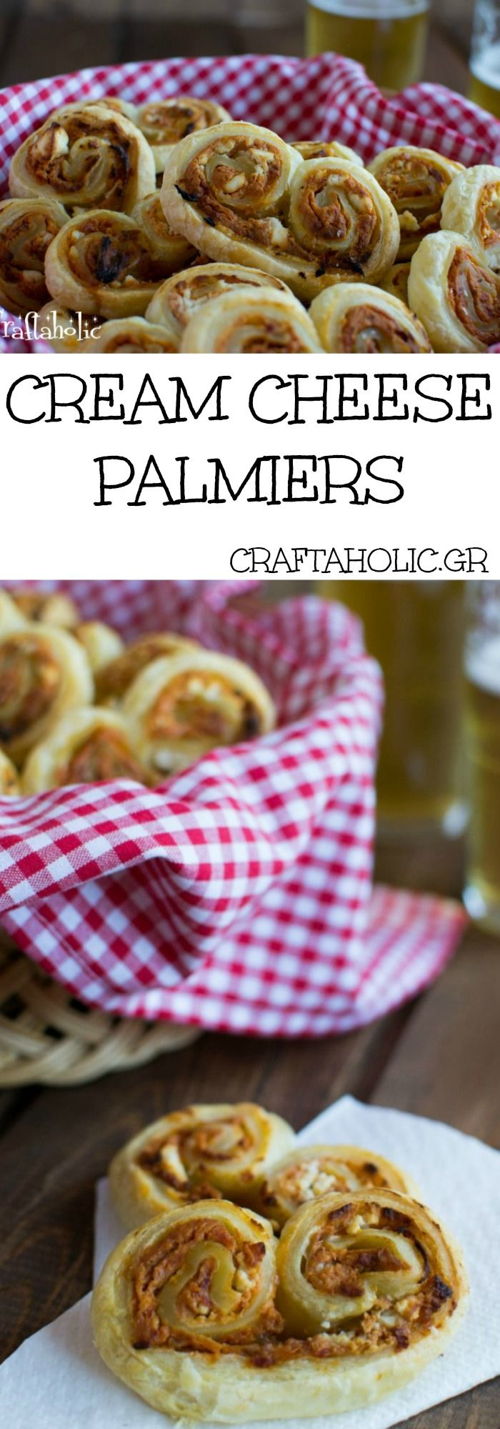 The easiest snack you can ever make are these cream cheese and sun dried tomato palmiers. They are yummy and perfect with a cold beer!