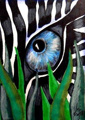 Teken op A4 formaat een close-up (uitvergroot detail) van een dier. Gebruik een foto als voorbeeld. Combineer dit met een stukje natuur. Schilder je tekening.