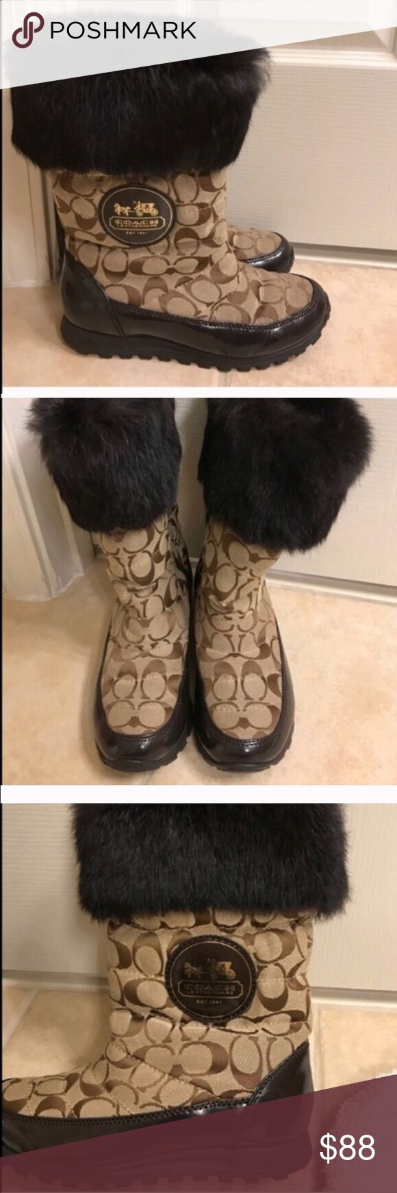 Authentic Coach size 6 brown winter rain boots Authentic Coach size 6 brown winter rain boots Coach Shoes Winter & Rain Boots