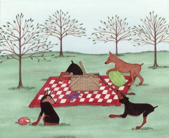 Min pin miniature pinscher picnic / Lynch by watercolorqueen, $12.99