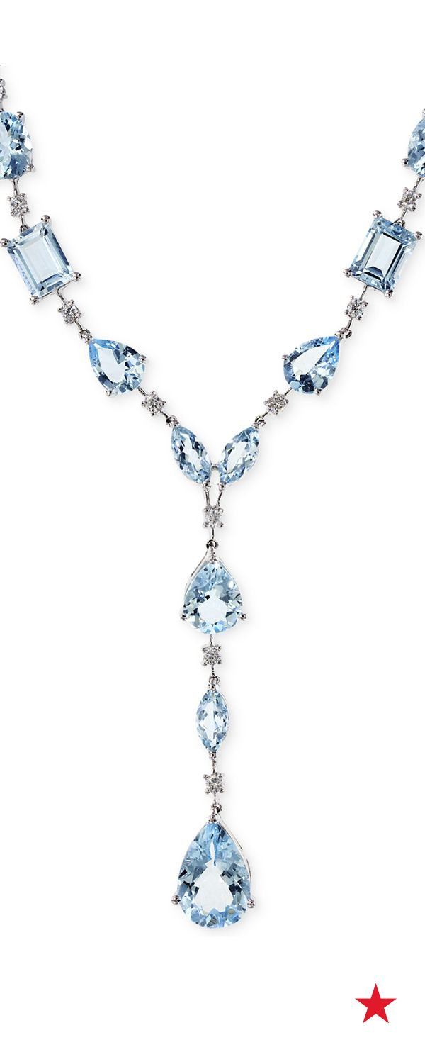Give your neckline a charming pop of color with eye-catching aquamarine gemstones. Plus, those round-cut diamonds take the sparkle factor to a whole new level — Aquarius by Effy aquamarine and diamond necklace in 14k white gold