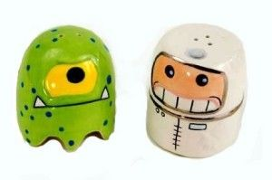 Alien and Astronaut Magnetic Salt & Pepper Shakers This quirky set of shakers saves you space on your shelf as you put the Pac-Man like alien on the astronaut's head. http://theceramicchefknives.com/novelty-salt-and-pepper-shakers/ Alien and Astronaut Magnetic Salt & Pepper Shakers
