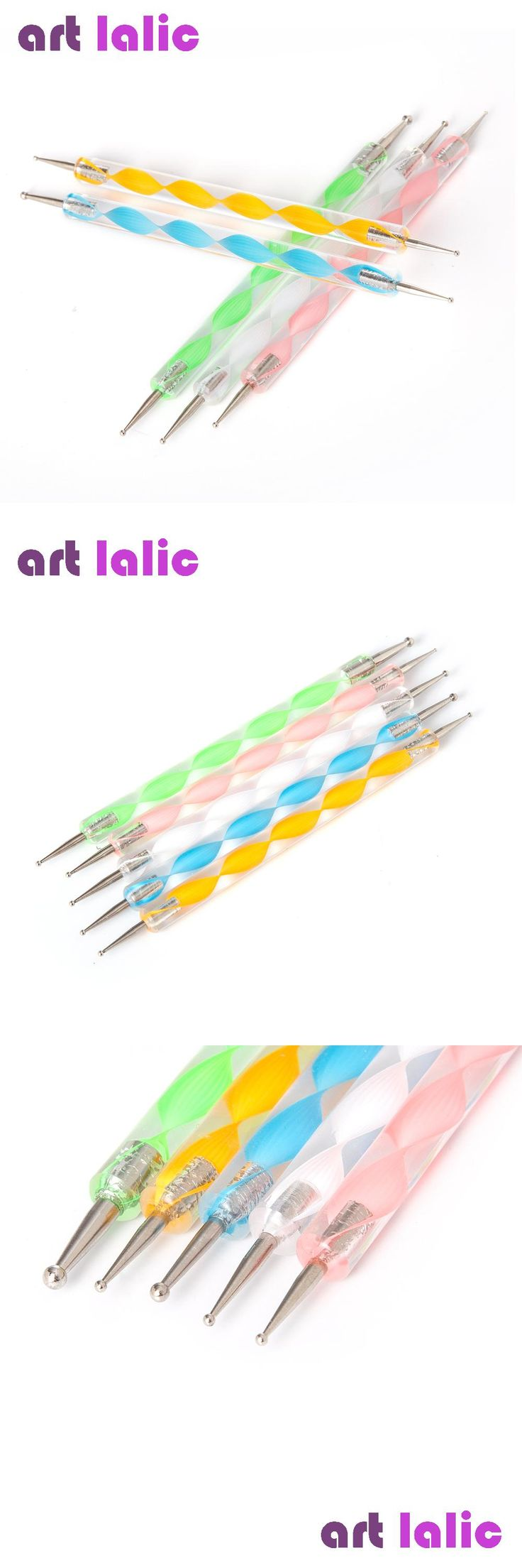[Visit to Buy] 5 Pcs Professional 2-Way Nail Dotting Pen Marbleizing Painting Nail Tool Nail Art Pen Set For UV Gel Nail Tool  #Advertisement