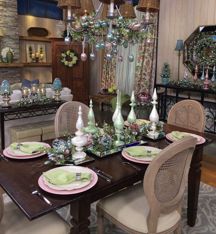 Easter Table Decor Valerie Parr Hill Chandelier Ideas Qvc Tablescapes Dining Room Centerpieces