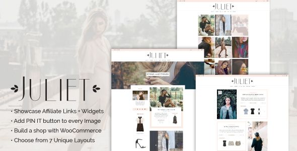Juliet - A Blog & Shop Theme for WordPress . Juliet has features such as High Resolution: No, Widget Ready: Yes, Compatible Browsers: IE11, Firefox, Safari, Opera, Chrome, Compatible With: WooCommerce 2.6.x, Software Version: WordPress 4.5.x, WordPress 4.5.2, WordPress 4.5.1, WordPress 4.5, Columns: 3