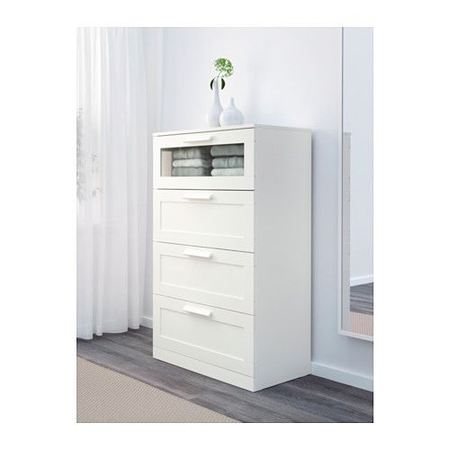 BRIMNES 4-drawer dresser, white, frosted glass white/frosted glass 30 3/4x48 7/8