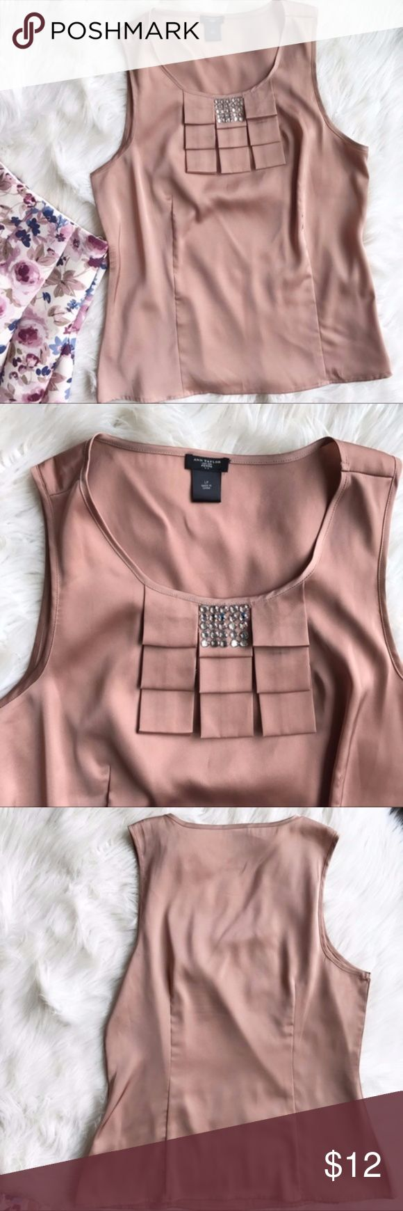 """Ann Taylor Sleeveless Career Blouse Excellent condition Career Blouse by Ann Taylor. Stone detailing at neckline, dark dusty rose color. Size large petite. Length - 25"""", bust - 21"""", waist - 18"""". Ann Taylor Tops Blouses"""
