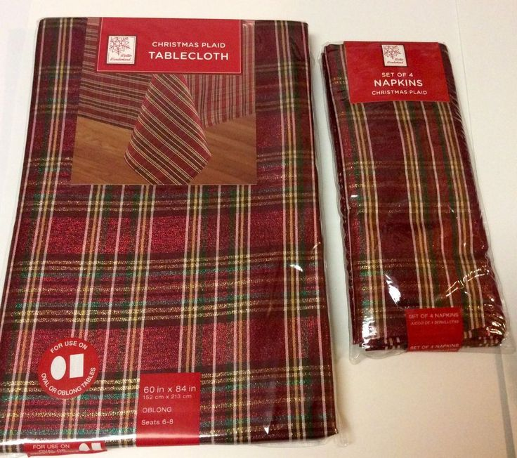 Christmas Plaid 60 in. x 84 in. Oblong Tablecloth and Napkins Polyester Metallic    eBay