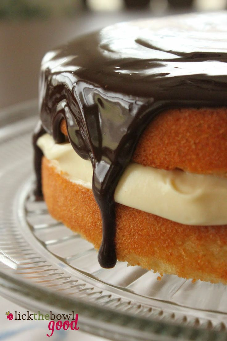Boston Cream Pie (cake). Use this recipe for the pastry cream and ganache, not the cake layers (too dry).