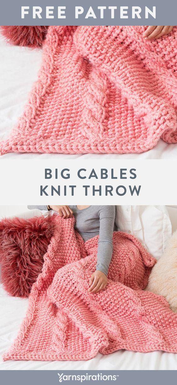 Free Knit Big Cables Throw Pattern using Red Heart Grande