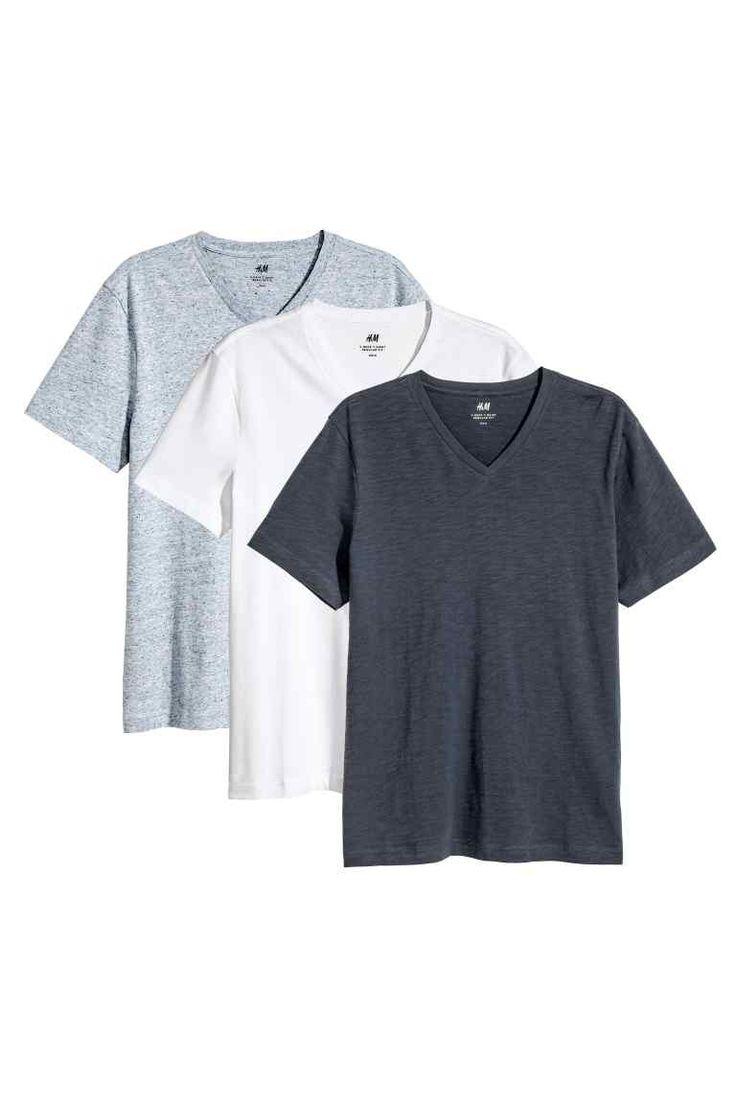 T-shirt Regular fit 3-pak - Ciemnoniebieski/Biały -   H&M PL 1