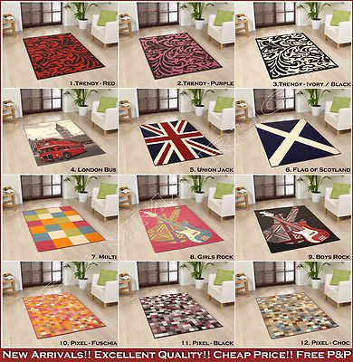 NEW MEDIUM LARGE EXTRA LARGE MODERN CHEAP BLUE RED PURPLE BLACK SOFT FUNKY RUGS