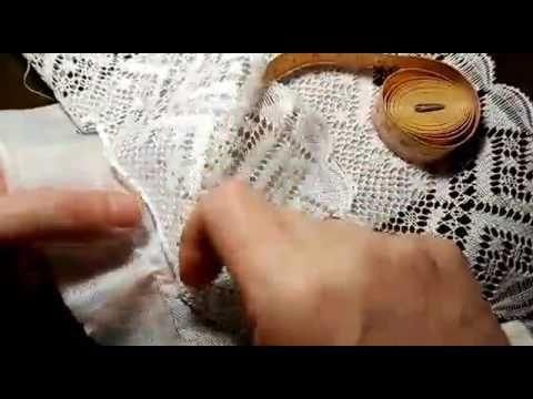 Como unir encaje de bolillos a la tela con una vainica ciega - YouTube