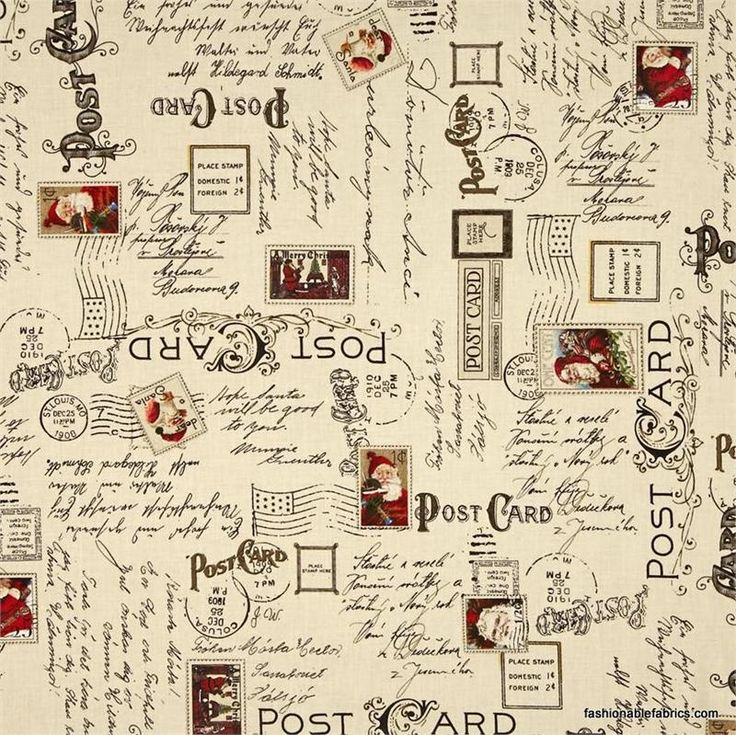 Fabric... Dear Santa Text and Postmarks by Quilting Treasures