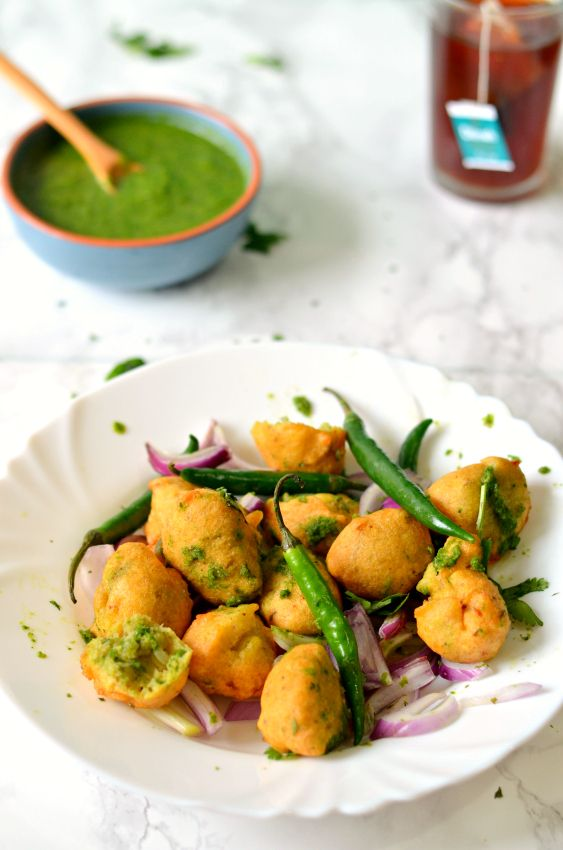 Ram laddu- Delicious moong dal vadas from North India, served with grated radish and green chutney. Perfect tea time snack - The Veggie Indian