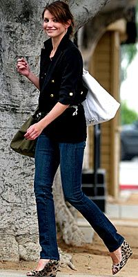 love the leopard print wedges & military jacket