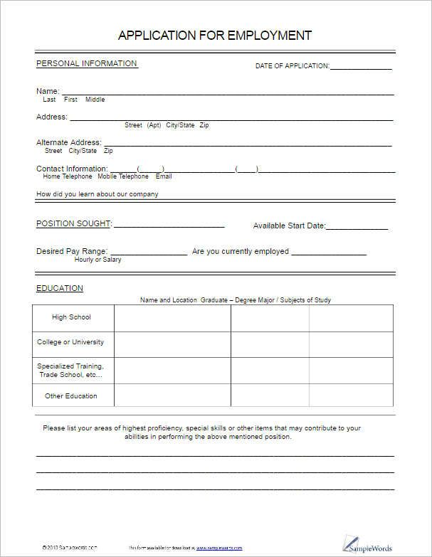 Application Forms Templates Employment Application Application