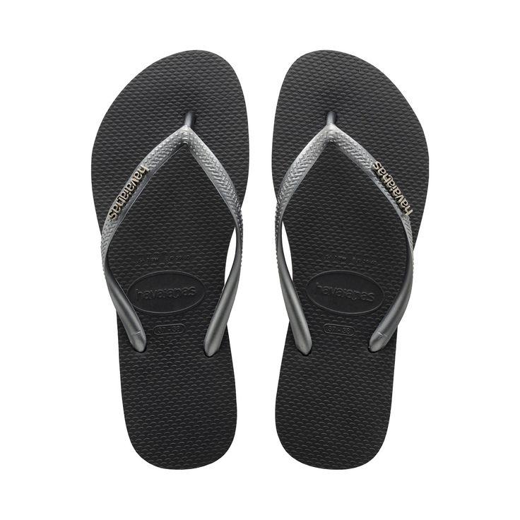 Havaianas Slim Logo Metallic Thong Flip Flops for Women