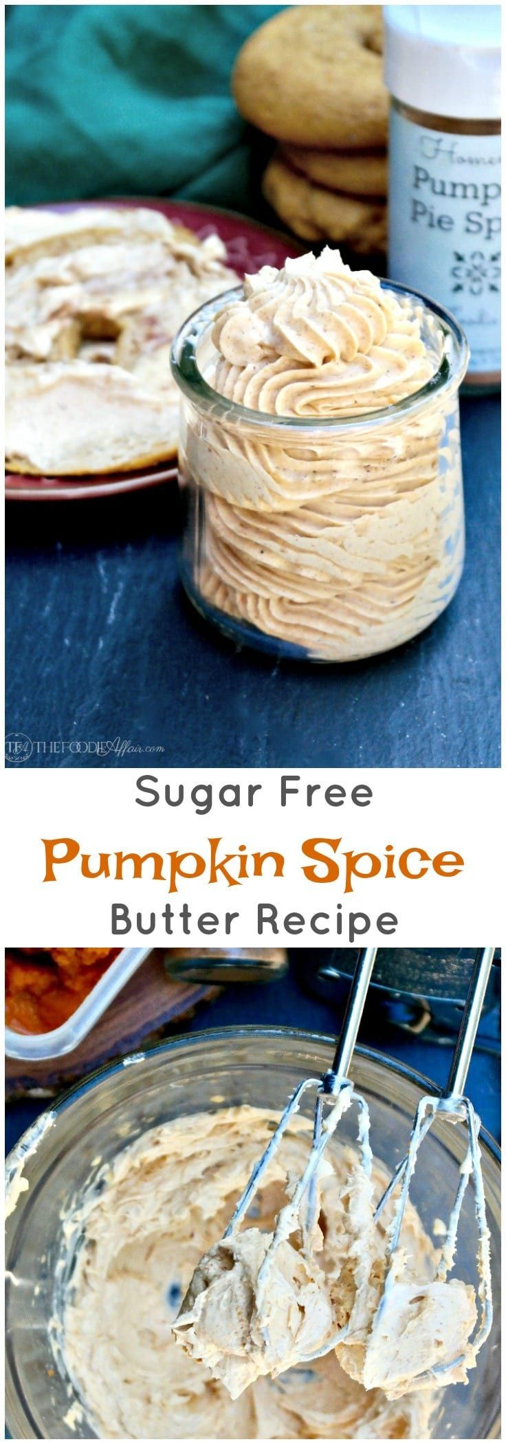 Sugar Free Pumpkin Spice Butter whipped, and then flavored with pumpkin puree and a dash of Fall spices! Add to bagels, toast or in your bulletproof coffee! #PumpkinSpice #Recipe #Butter