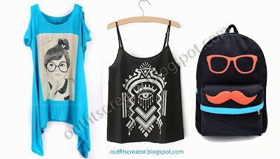 outfit glasses mustache geometric pattern inspiration tank top t-shirt satchel blue black cute girl
